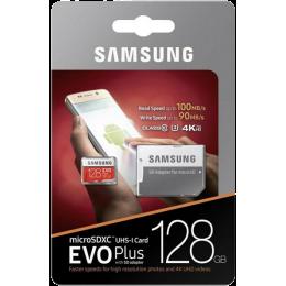 Карта памяти Samsung Evo Plus microSDXC 128Gb Class 10 UHS-I U3 + SD адаптер (MB-MC128GA)
