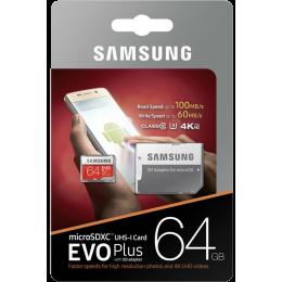 Карта памяти Samsung Evo Plus microSDXC 64Gb Class 10 UHS-I U3 + SD адаптер (MB-MC64GA)