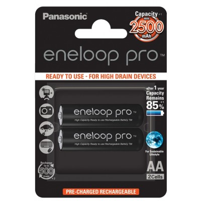 Аккумулятор PANASONIC eneloop Pro AA 2500mAh/BK-3HCDE 2BP