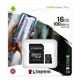 Карта памяти Kingston Canvas Select Plus microSD 16GB